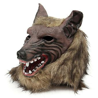 Halloween Latex Rubber Wolf Head Hair Mask Werewolf Gloves Costume Party Scary Decor