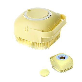 Cepillo de baño de masaje de silicona amarilla con dispensador de jabón mango de ducha corporal depurador cai1034