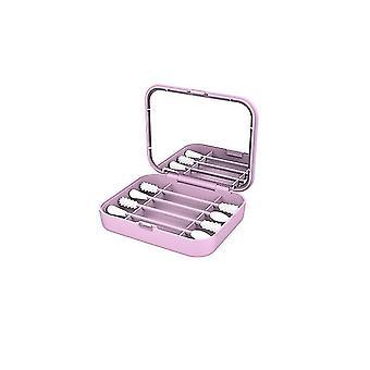 الوردي 4pcs / مربع القطن القابلة لإعادة الاستخدام مسحة الأذن تنظيف براعم السيليكون مستحضرات التجميل مسحات العصي مع مرآة ماكياج cai978