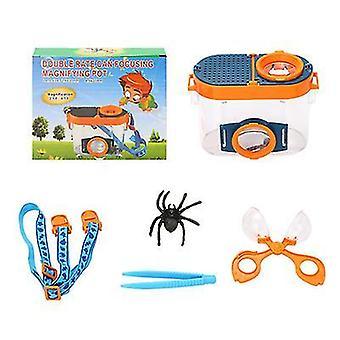 Draagbare insecten observatie box kinderen vergrootglas speelgoed-outdoor exploratie insecten observatie box set az4819