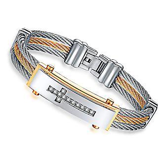 Pulseira clássica de charme diamond cross bracelete de aço inoxidável pulseira de punho de luxo