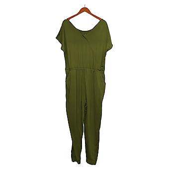 Cuddl Duds Petite Jumpsuits Short Sleeve One-Piece Green A373488