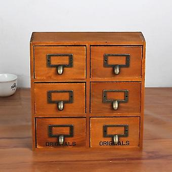 Kitchen cabinets retro style wooden storage cabonet with with 6 drawers