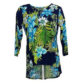Susan Graver Top Femenino Impreso Líquido Punto Peplum Espalda Azul A304069