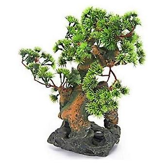Penn Plax Bonsai Träd på Stenar Akvarium Prydnad - 7 x 6 x 12