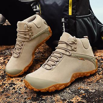 Men's Hiking Shoes Low Cut Boots Waterproof Leather Walking Shoes For Outdoor Trekking Training Casual Work Sneaker Boot