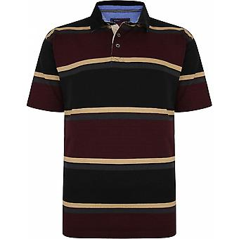 KAM Kam Mens Big Size Cotton Stripe Rugby Short Sleeve Polo With Cord Collar