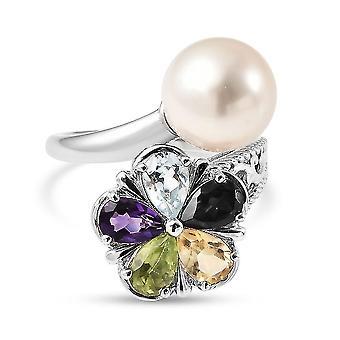 Multi Edelstein Floral Bypass Ring 925 Sterling Silber Naturliebhaber Geschenk 9.5ct (L)