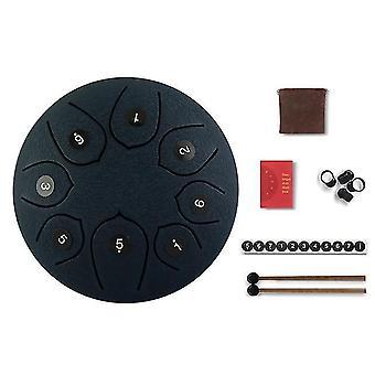 Tambour de langue 6 pouces en acier jeu de batterie 8 mélodies de tambour à main bâtons de réservoir portant sac percussion