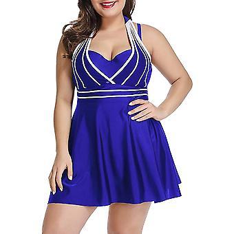 Womens Halter Swimdress Plus Size Two Piece Swimsuit Set-3xl-blue