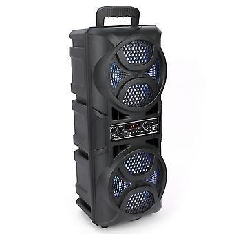 Double 6.5 Portable Wireless Bluetooth Lautsprecher Outdoor Subwoofer Sound Box Fm Radio Usb /aux/bt/tf/big LED