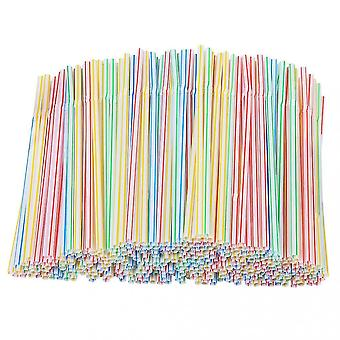 200 Pieces Plastic Drinking Straws 8 Inches Long Multi-colored Striped Bedable