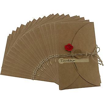 20pcs Brown Kraft Paper Thank You Cards With Kraft Paper Envelopes