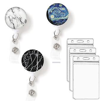 (Marbles)Leuyuan Pack Of 3 Retractable Id Badge Reelswith Badge Card Cases
