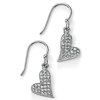925 sølv Zirconia hjertet ørering Trend
