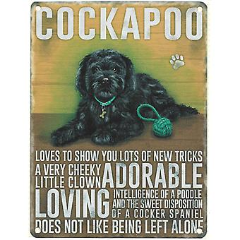 Large Wall Plaque 400mm x 300mm - Black Cockapoo by The Original Metal Sign Co