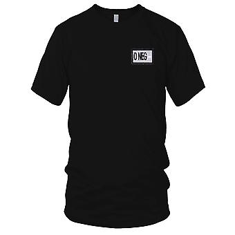 US Army - Blood Type O Negative Embroidered Patch - Silver Mens T Shirt