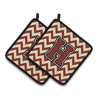 Letter H Chevron Maroon and Gold Pair of Pot Holders