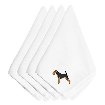 Carolines Treasures  BB3457NPKE Airedale Terrier Embroidered Napkins Set of 4