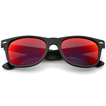 Matte Finish Color Mirror Lens Large Square Horn Rimmed Sunglasses 55mm
