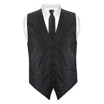 "Mens Paisley schlanke Passform Kleid Weste Krawatte 2,5"" Set Neck Tie Hanky"