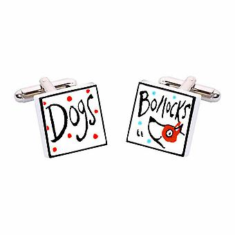 Dogs Bollocks Cufflinks by Sonia Spencer, in Presentation Gift Box. Hand painted