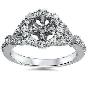 3/8ct Vintage Halo Diamond Engagement Setting 14k White Gold Semi Mount