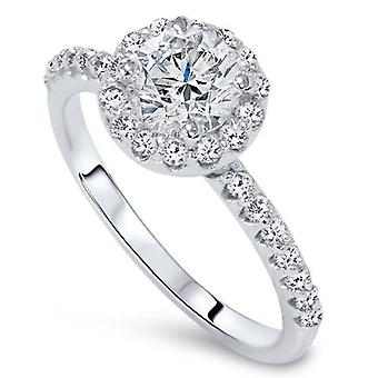 Halo Diamond Engagement Ring 7/8ct Round Brilliant Cut 14k White Gold