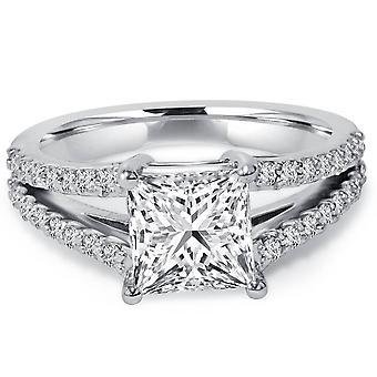 1 1 / 3ct Princess cięte Split chwyt uwydatniać diament pierścionek zaręczynowy 14K białe złoto