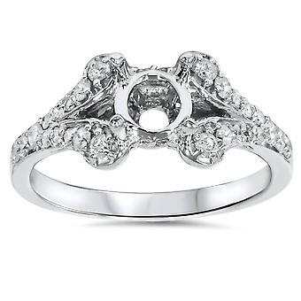 1 / 3ct diamant Semi monture bague de fiançailles réglage 14K
