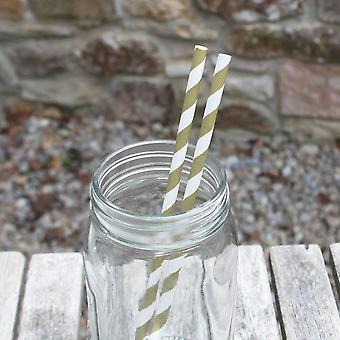 Gold Striped Paper Straws x 25 For Wedding Parties and Celebration Drinks