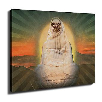 Holy Pug Animal Funny Wall Art Canvas 40cm x 30cm | Wellcoda