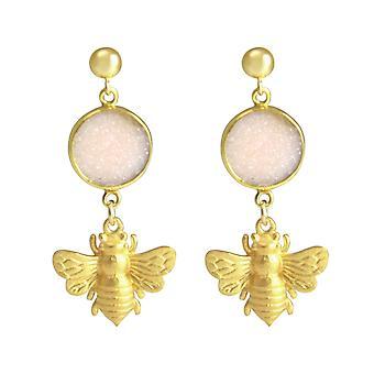 Gemshine Women's Earrings 925 Silver Plated BEE Bee DRUZY Rose Quartz