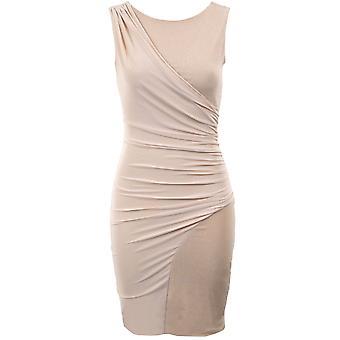 Ladies sølv Glitter diagonale Wrap Bodycon Womens kort Party kvelden kjole