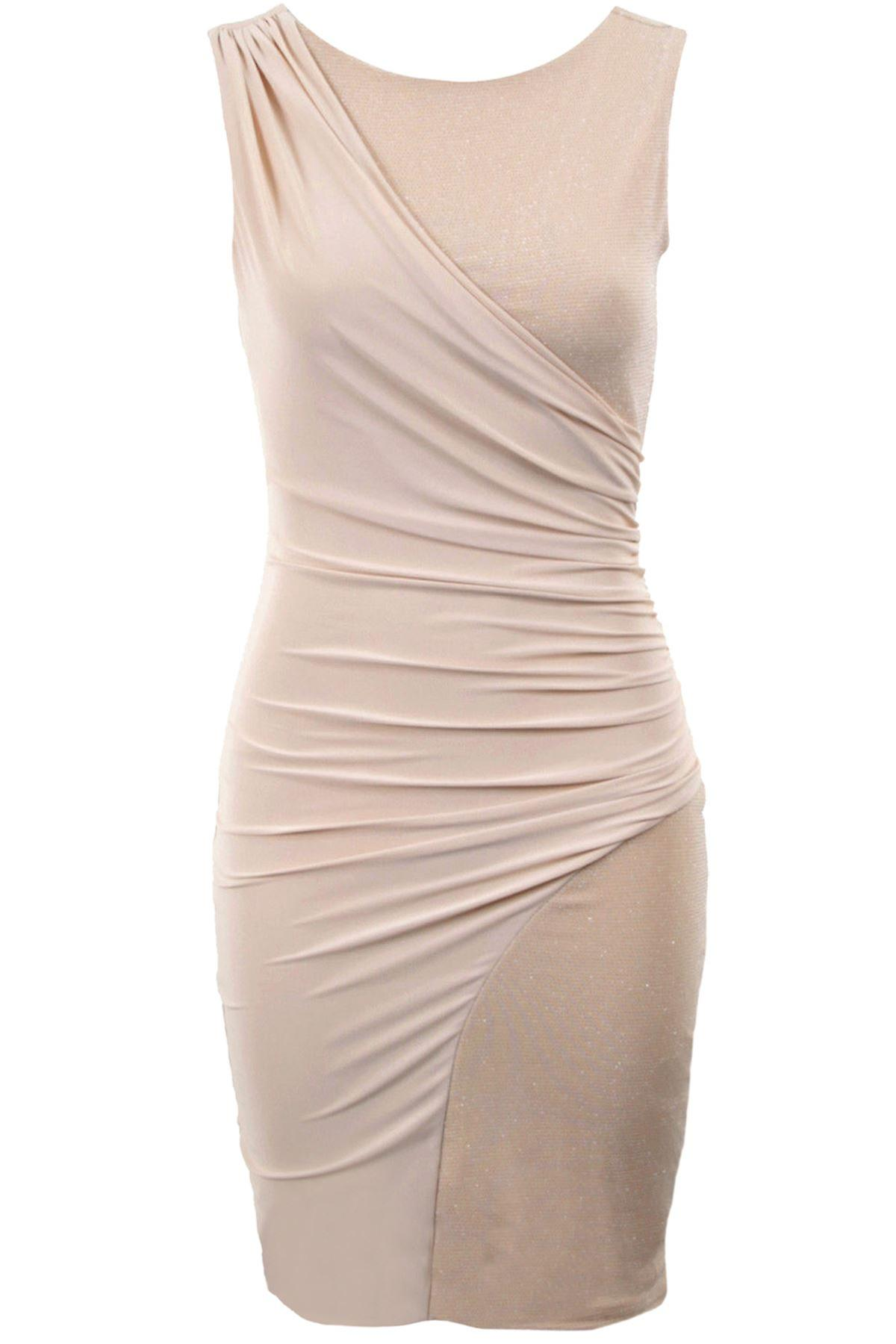 Ladies Silver Glitter Diagonal Wrap Bodycon Womens Short Party Evening Dress
