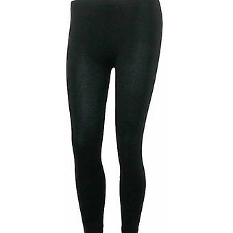 Ladies Warm Knitted Thermal Ankle Length Footless Leggings Medium/Large Black