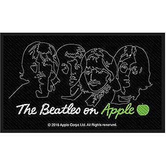 The Beatles Patch On Apple Band Logo new Official Black Woven Iron on 10x6 cm