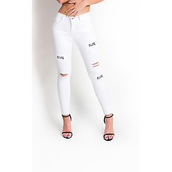 IKRUSH Womens Liya Ripped Embellished Skinny Jeans
