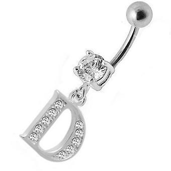 Belly Bar Navel Piercing 925 Sterling Silver, smycken, skrivelse inledande | D