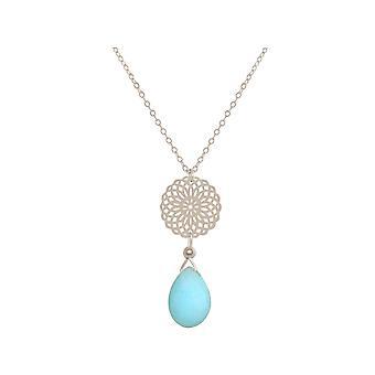Collier GEMSHINE mandala turquoise pierre précieuse argent, plaqué or ou rose