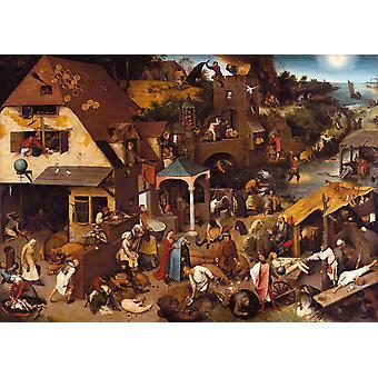 Netherlandish Proverbs, BRUEGEL Pieter vanhempi, 50x40cm