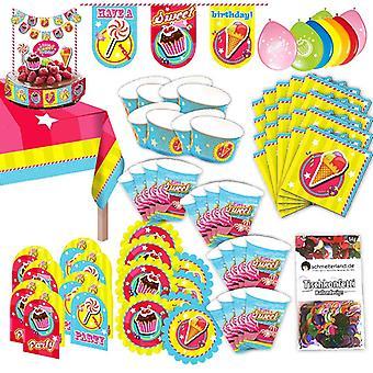 Festa Candy Cake conjunto XL 77-teilig para 8 convidados doces decoração parte pacote