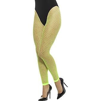 Footless Net Tights, Neon Green