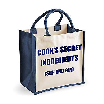 Medium Navy Jute Bag Cook's Secret Ingredients (Shh and Gin)
