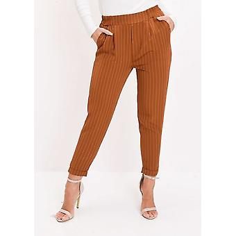 Pin Stripe elasticizzati conici pantaloni Tan Brown
