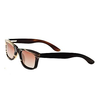 Bertha Zoe Buffalo-Horn Polarized Sunglasses - Black-Tan/Black