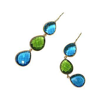 Gemshine örhängen grön peridotes, blå Topaz Drop 925 silver eller guldpläterad