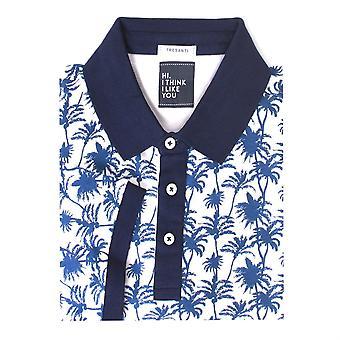 Tresanti Palm Tree Print Men's Polo Short Sleeve Cotton Shirt