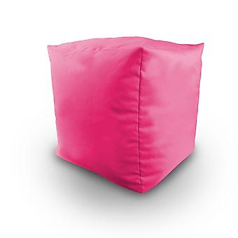 Ready Steady Bed Bean Filled Cube Pouffe Footstool in Pink. Ideaal voor ontspanning, zitplaatsen, loungen, geweldig voor volwassenen, tieners en kinderen. Gemaakt van waterbestendig materiaal, verkrijgbaar in 8 geweldige kleuren