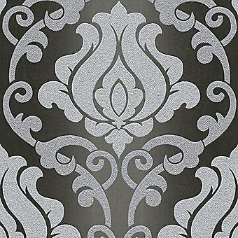 Black Grey Damask Glitter Wallpaper Sparkle Textured Vinyl Washable A.S Création
